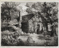 Texas:Early Texas Art - Drawings & Prints, CHARLES BOWLING (1891-1985). Cabin, 1938. Lithograph. 9in. x11in.. Signed and dated lower right. Titled lower left. C...