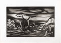 Texas:Early Texas Art - Drawings & Prints, J.J. MCVICKER (1911-2004). Along the Cimarron, 1947.Aquatint. 10.5in. x 16.5in.. Signed, dated and titled bottom.Hor...
