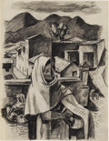 Texas:Early Texas Art - Drawings & Prints, EDMUND KINZINGER (1888-1963). Taxco Market Scene, 1930's.Charcoal. 11in. x 8.5in.. Unsigned, but authenticated by David...