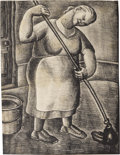 Texas:Early Texas Art - Drawings & Prints, KATHLEEN BLACKSHEAR (1897-1988). Washwoman, 1930's.Lithograph. 9in. x 7in.. Signed lower right. Estate inventorysticke...