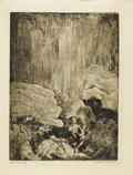 Texas:Early Texas Art - Drawings & Prints, CONSTANCE FORSYTH (1903-1987). Below the Cliff, 1940's.Aquatint. 12in. x 8.75in.. Signed lower right. Titled lower left...