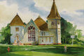 Texas:Early Texas Art - Regionalists, CATHERINE MCKINLEY SMITH (1908-1990). Zion Hill BaptistChurch. Watercolor. 15in. x 22in.. Signed lower right.Inscrib...