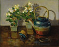 Texas:Early Texas Art - Regionalists, MARY THOMPSON (1912-2001). Teapot and Begonias. Oil onmasonite. 16in. x 20in.. Signed lower right. Signed and titledve...