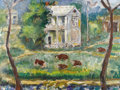 Texas:Early Texas Art - Regionalists, JOSEPHINE MAHAFFEY (1903-1986). Eisenhower's Birthplace. Oilon masonite. 36in. x 48in.. Signed lower left. A part of ...