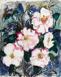 Paintings, JOSEPHINE MAHAFFEY (1903-1986). Hibiscus. Oil on canvasboard. 30in. x 24in.. Signed lower right. An exuberant floral p...