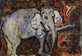 Texas:Early Texas Art - Regionalists, JOSEPHINE MAHAFFEY (1903-1986). Sissy the Elephant.Watercolor and tempra on paper. 18in. x 26in.. Signed lower right....