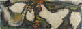 Texas:Early Texas Art - Regionalists, JOSEPHINE MAHAFFEY (1903-1986). Roosters, 1930's. Oil oncanvas. 16in. x 47in.. Signed lower right. Josephine Mahaffey...
