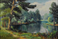 Texas:Early Texas Art - Impressionists, DOLLIE NABINGER (1905-1998). Lake Near Kilgore. Oil oncanvasboard. 5in. x 8in.. Signed lower right. Dollie Nabinger w...
