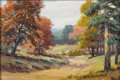 Texas:Early Texas Art - Impressionists, DOLLIE NABINGER (1905-1998). Fall Near Nacogdoches. Oil oncanvasboard. 5in. x 8in.. Signed lower right. Provenance: ...