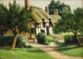Texas:Early Texas Art - Impressionists, DOLLIE NABINGER (1905-1998). Ann Hathaway's Cottage Stratford onthe Avon, England. Oil on canvas. 10in. x 14in.. Signed...