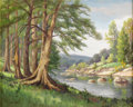 Texas:Early Texas Art - Impressionists, DOLLIE NABINGER (1905-1998). Guadalupe River - NearFredericksburg, Texas. Oil on canvasboard. 16in x 20in.. Signedlowe...