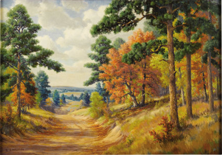 DOLLIE NABINGER (1905-1998) Fall Scene Between Nacogdoches and Henderson, Texas Oil on linen 28in. x 40in. Signed lo...