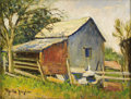 Texas:Early Texas Art - Impressionists, ROLLA TAYLOR (1871-1970). The Blue Barn, Big Joshua, 1920's- 1930's. Oil on canvasboard. 9in. x 12in.. Signed lower lef...