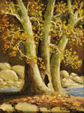 Texas:Early Texas Art - Impressionists, ROLLA TAYLOR (1871-1970). Sycamores in Autumn, Helotes,1920's. Oil on canvasboard. 12in. x 9in.. Signed lower right. Si...