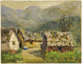 Texas:Early Texas Art - Impressionists, ROLLA TAYLOR (1871-1970). Village in the Valley, 1920's -1930's. Oil on canvasboard. 8in. x 10in.. Signed lower right. ...