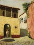 Texas:Early Texas Art - Impressionists, ROLLA TAYLOR (1871-1970). Untitled. Oil on canvasboard.12in. x 9in.. Signed lower right. Mexican colonial architectur...