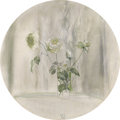 Texas:Early Texas Art - Modernists, XAVIER GONZALEZ (1898-1993). Tondo: White Roses, 1973. Oilon canvas. 26in. diameter. Signed and dated lower center. ...