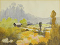 Texas:Early Texas Art - Impressionists, WILLIAM FREDERICK JARVIS (1898-1966). Landscape with Cabin. Watercolor on paper. 14in. x 18.5in.. Signed lower left. A...