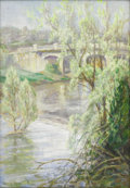 Texas:Early Texas Art - Impressionists, EMMA RICHARDSON CHERRY (1859-1954). Bridge at Springtime.Oil on canvasboard. 20in. x 14in.. Signed lower left. Known ...