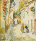 Texas:Early Texas Art - Impressionists, JOSE ARPA (1858-1952). Untitled Street Scene. Watercolor.7.5in. x 6.5in.. Signed lower left. ...