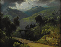 A.D. GREER (1904-1998) Highlander, 1960's Oil on linen 28in. x 36in. Signed lower right Signed, dated and titled ve