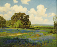 ROBERT WILLIAM WOOD (1889-1979) Texas Bluebonnets Oil on canvas 25in. x 30in. Signed lower left  A beautiful Texas