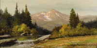 ROBERT WILLIAM WOOD (1889-1979) Cascade Dawn Oil on canvas 24in. x 48in. Signed lower right Titled and copyright ve