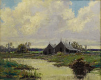 FRANK KLEPPER (1890-1952) After Rain, 1931 Oil on burlap 24in. x 30in. Signed lower left  Painted in some of the d