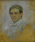 Texas:Early Texas Art - Impressionists, DAWSON DAWSON-WATSON (1864-1939). Self Portrait. Oil oncanvasboard. 12in. x 10in.. Signed lower left with monogram. A...