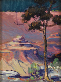 DAWSON DAWSON-WATSON (1864-1939) The Lone Pine, 1925 Oil on canvas laid on board 8.5in. x 6.5in. Signed and dated lo