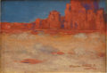 Texas:Early Texas Art - Regionalists, DAWSON DAWSON-WATSON (1864-1939). Cathedral Rock, Gallup,NM, 1921. Oil on canvasboard. 6.5in. x 9in.. Signed and dated...