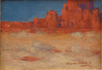 DAWSON DAWSON-WATSON (1864-1939) Cathedral Rock, Gallup, NM, 1921 Oil on canvasboard 6.5in. x 9in. Signed and dated