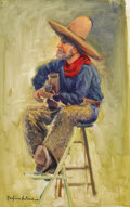 Texas:Early Texas Art - Impressionists, PORFIRIO SALINAS (1910-1973). Singing Cowboy. Oil onmasonite. 16in. x 10in.. Signed lower left. A rare Salinasportra...