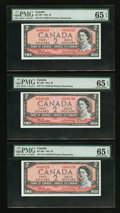 Canadian Currency: , BC-38b $2 1954 Three Consecutive Examples. ... (Total: 3 notes)