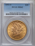 Liberty Double Eagles: , 1893-S $20 MS62 PCGS. PCGS Population (1437/568). NGC Census: (1675/302). Mintage: 996,175. Numismedia Wsl. Price for probl...