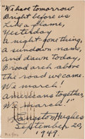 Autographs:Authors, Langston Hughes Autograph Poem Signed....