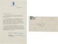 Autographs:Non-American, Prince Charles and Princess Diana Typed Letter Signed.... (Total: 2Items)
