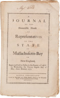 Miscellaneous:Booklets, [Revolutionary War]. A Journal of the Honorable House ofRepresentatives of the State of Massachusetts-Bay, 1777....