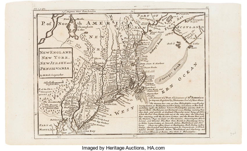 Colonial America Postal Map New England New York New Jersey