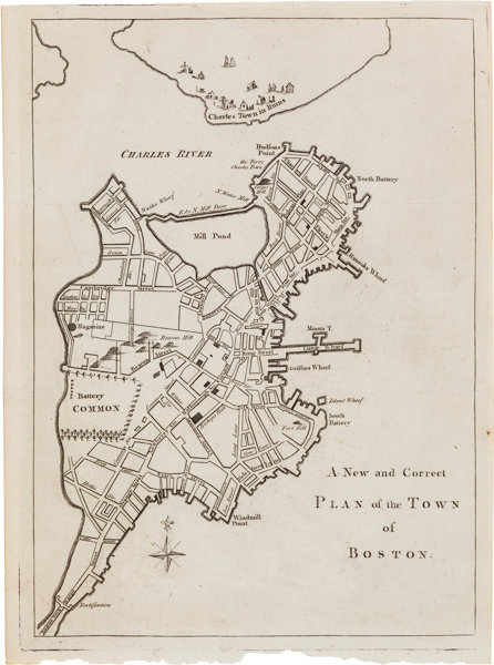 Revolutionary War]. Map: A New and Correct Plan of the Town ... on map of boston streets during the revolution, map of boston rhode island, map of boston scotland, map of boston 1776, map of boston 17th century, map of boston during the boston massacre, map of boston art, map of boston united states, map of boston massachusetts, map of boston colonial, map of boston england, map of boston 1800s, map of boston cemeteries, map of revolutionary battles, map of patriot during american revolution victory,