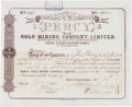 Miscellaneous:Ephemera, Percy Gold Mining Co. Stock Certificate, June 20, 1889,...