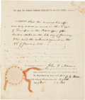 Autographs:U.S. Presidents, John Quincy Adams Document Signed...