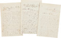 Autographs:Military Figures, [Civil War]. Three Silas Wood Letters....