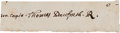 Autographs:Statesmen, [Colonial America]. Thomas Danforth Clipped Signature....
