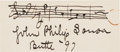 Autographs:Artists, John Philip Sousa Autograph Musical Quotation Signed....