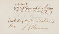 Autographs:Celebrities, Phineas T. Barnum Inscribed Calling Card Signed...