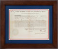 Autographs:U.S. Presidents, James Madison and James Monroe Letter of Marque Signed....