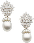 Estate Jewelry:Earrings, Diamond, South Sea Cultured Pearl, White Gold Earrings. ...