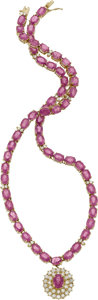 Estate Jewelry:Necklaces, Pink Sapphire, Diamond, Gold Necklace. ...