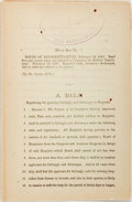 Books:Americana & American History, A Bill From the House of Representatives Regulating the GrantingFurloughs and Discharges in Hospitals. February 12, 1863. O...